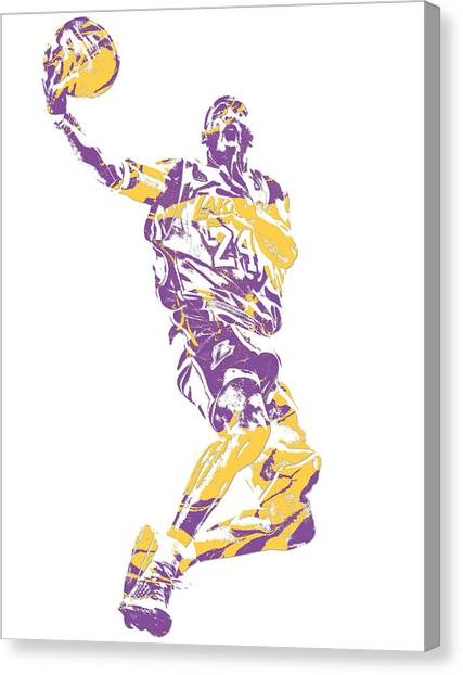 Kobe Bryant Canvas Print - Kobe Bryant Los Angeles Lakers Pixel Art 24 by Joe Hamilton