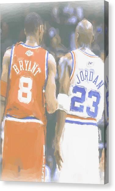 Kobe Bryant Canvas Print - Kobe Bryant Michael Jordan 2 by Joe Hamilton