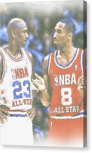 Basketball Players Canvas Print - Kobe Bryant Michael Jordan by Joe Hamilton