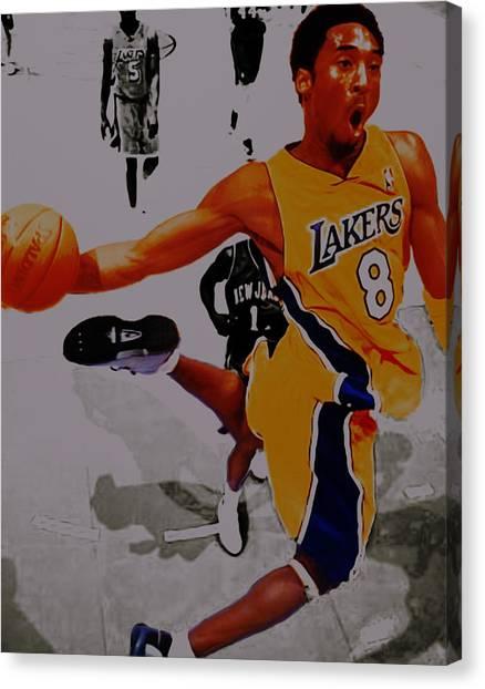 Black Mambas Canvas Print - Kobe Bryant Taking Flight 3a by Brian Reaves