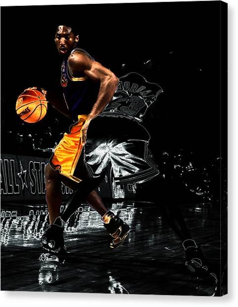 La Lakers Canvas Print - Kobe Spin Move On Jordan by Brian Reaves