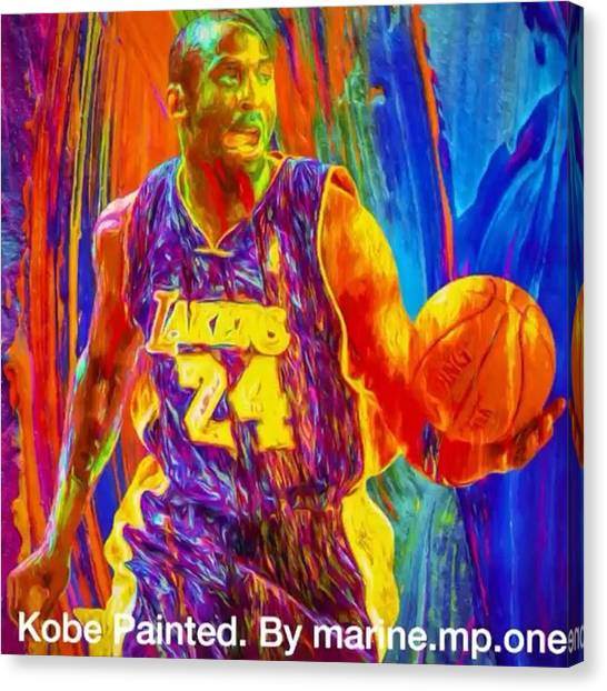 Basketball Canvas Print - @kobebryant #kobe #kobebryant @lakers by David Haskett II