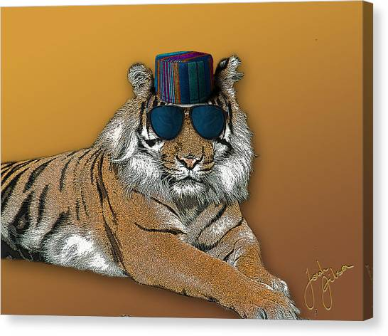 Kofia Tiger With Shades Canvas Print