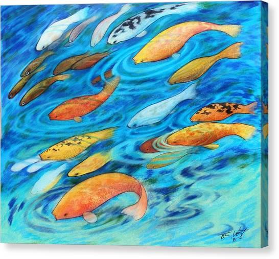 Koi Pond Canvas Print - Koi Abstract by Thomas Voigt