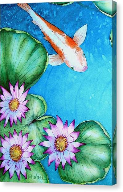 Koi And Lilies Cards And Prints  Canvas Print