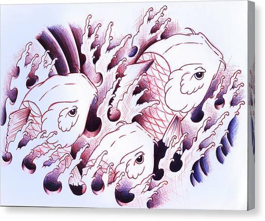 Koi Canvas Print - Koi Carps In Water Tattoo Art by Samuel Whitton