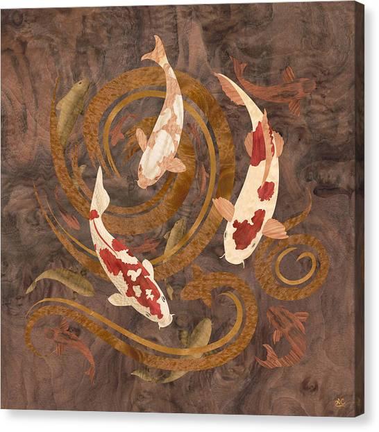 Koi Canvas Print - Koi Fish Wood Art by Vincent Doan