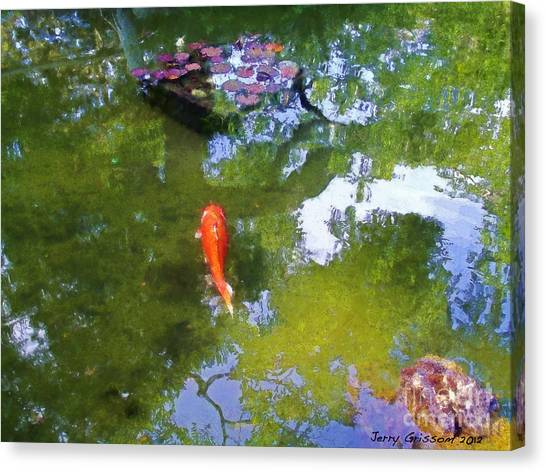 Koi In Reflective Water Garden Canvas Print by Jerry Grissom