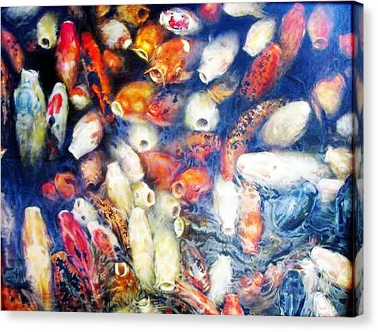 Koi In The Hourglass Canvas Print by Riek  Jonker