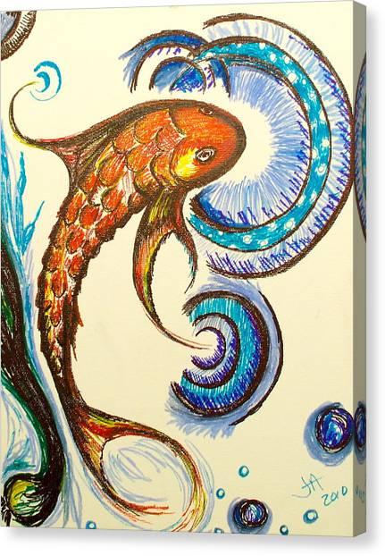 Koi Pond Canvas Print - Koi One by Jennifer Addington