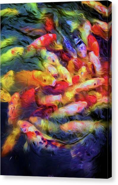 Goldfish Canvas Print - Koi Pond by Jon Woodhams