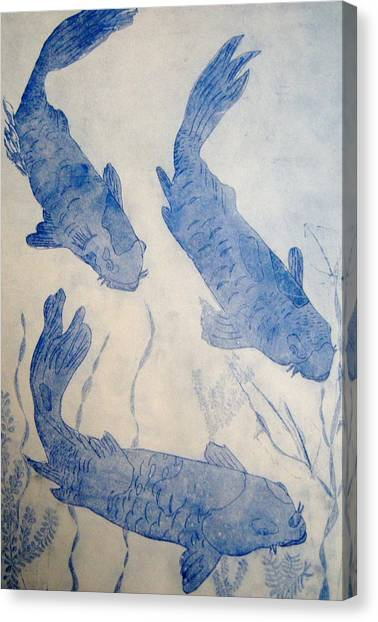 Koi Pond Canvas Print - Koi Pond by Joseph Kozenczak