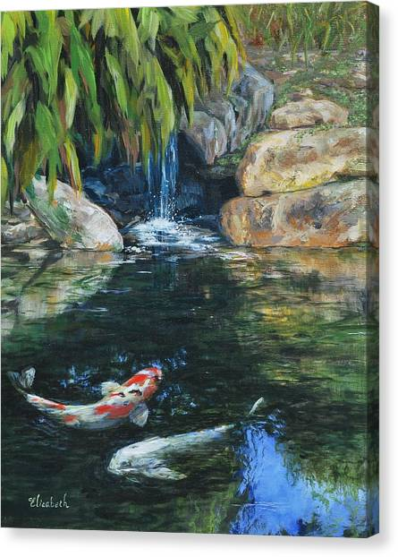 Koi Under The Waterfall Canvas Print by Beth Maddox