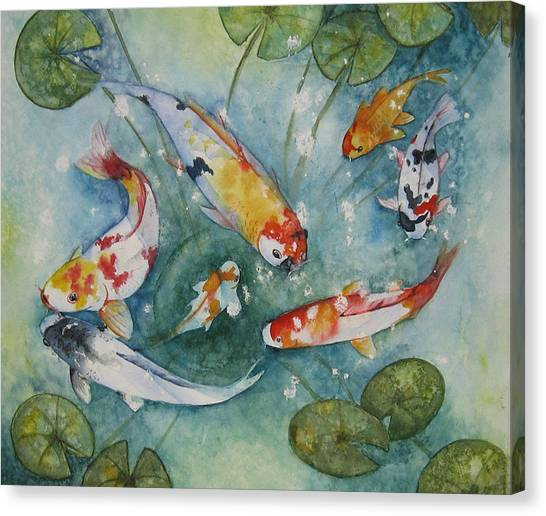 Koi  With Lilies Canvas Print by Gina Hall