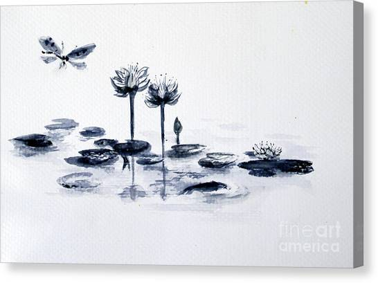 Koi With Waterlilies And Flutterby Canvas Print