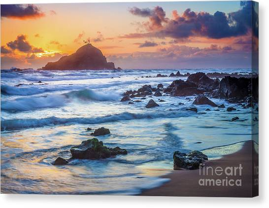 Splashy Canvas Print - Koki Beach Harmony by Inge Johnsson