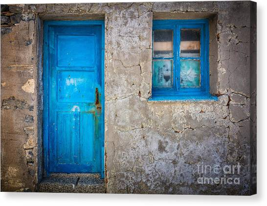 Greece Canvas Print - Kokkari Door by Inge Johnsson