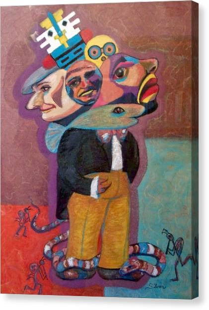 Canvas Print - Kokopelli And Everyman by MtnWoman Silver