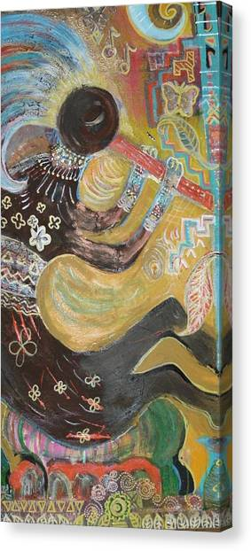 Kokopelli  Playing His Flute Canvas Print by Anne-Elizabeth Whiteway