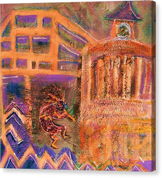 Kokopelli Visits Venue From Antiquity Canvas Print by Anne-Elizabeth Whiteway