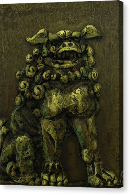 Komainu Guardian Canvas Print by Erik Pearson
