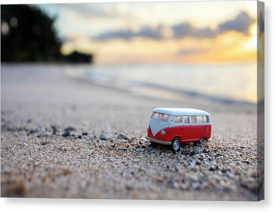 Beach Sunrises Canvas Print - Kombi Beach by Sean Davey