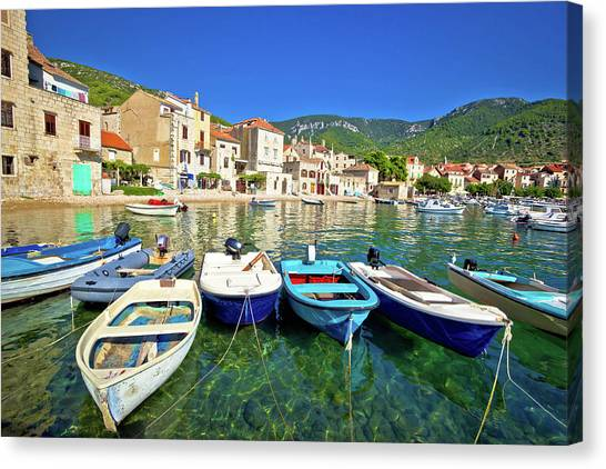 Komiza On Vis Island Turquoise Waterfront Canvas Print