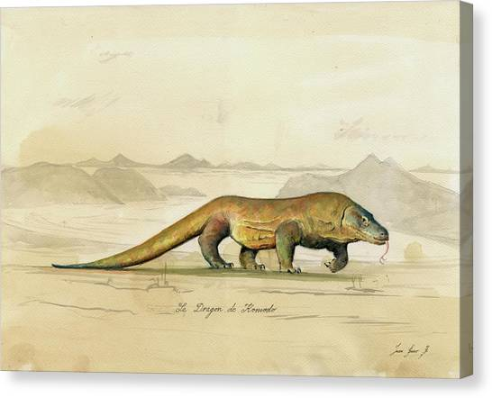 Dragons Canvas Print - Komodo Dragon by Juan Bosco