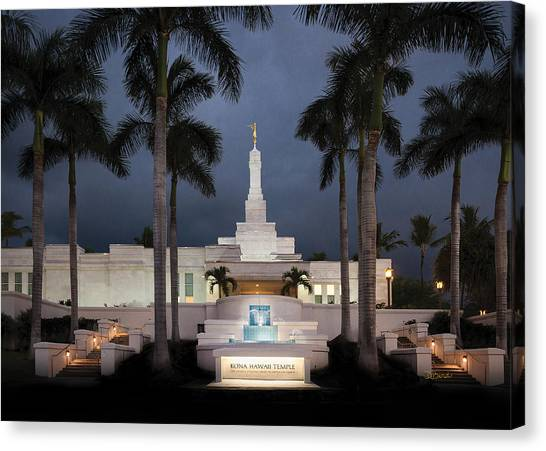 Kona Hawaii Temple-night Canvas Print