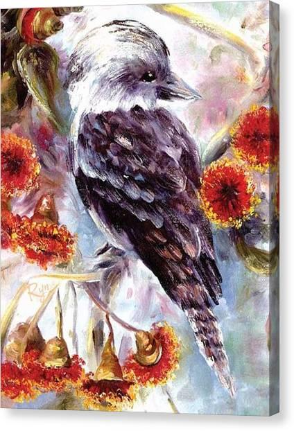 Kookaburra In Red Flowering Gum Canvas Print