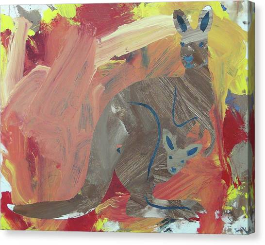 Canvas Print featuring the painting Kooky Kangaroo by Candace Shrope