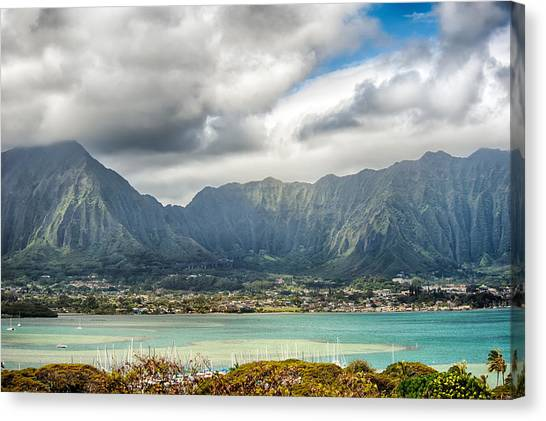 Ko'olau And H-3 In Color Canvas Print