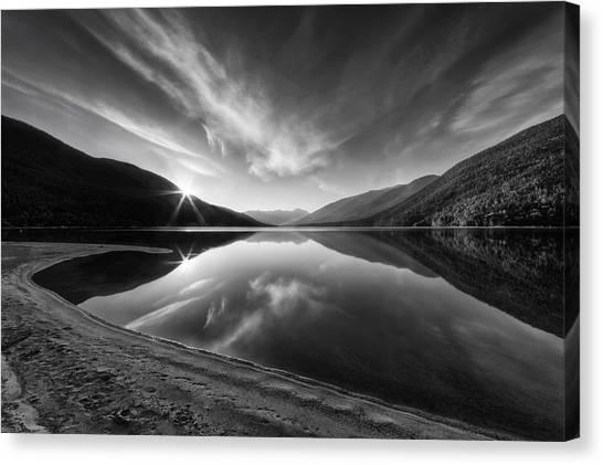 Lake Sunrises Canvas Print - Kootenay Lake Sunrise Black And White by Mark Kiver