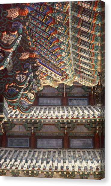 Korean Buddhism Temple Photography - Temple Tiles Canvas Print