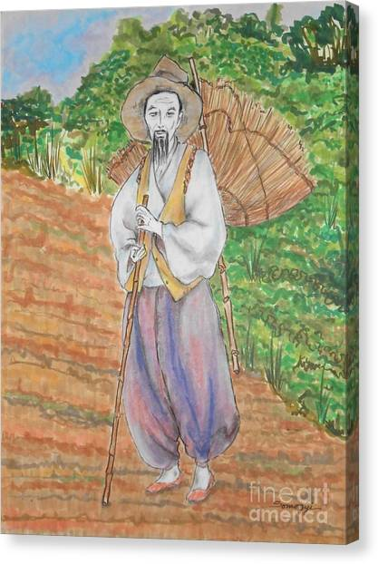 Korean Farmer -- The Original -- Old Asian Man Outdoors Canvas Print