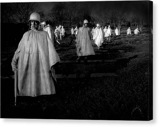 Canvas Print featuring the photograph Korean War Memorial by Williams-Cairns Photography LLC