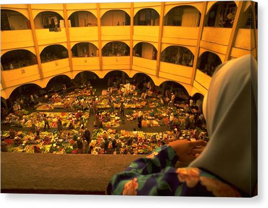 Canvas Print featuring the photograph Kota Bahru Indoor Market by Travel Pics