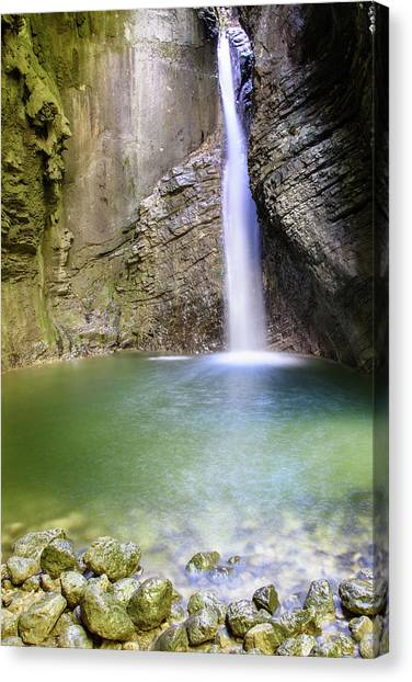 Mountain Caves Canvas Print - Kozjak Waterfall - Explore Slovenia by Nicola Simeoni