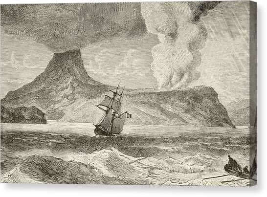 Krakatoa Canvas Print - Krakatoa Island Erupting In August by Vintage Design Pics
