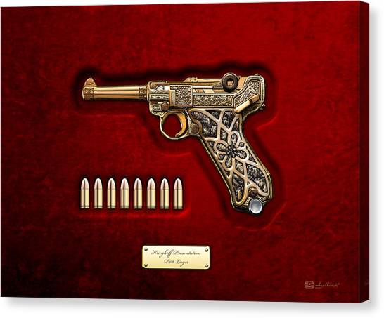 Gold Canvas Print - Krieghoff Presentation P.08 Luger  by Serge Averbukh