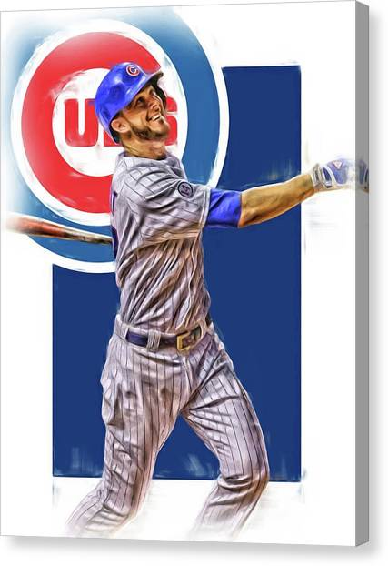 Chicago Cubs Canvas Print - Kris Bryant Chicago Cubs Oil Art by Joe Hamilton