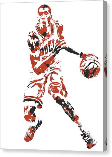 Chicago Bulls Canvas Print - Kris Dunn Chicago Bulls Pixel Art 1 by Joe Hamilton