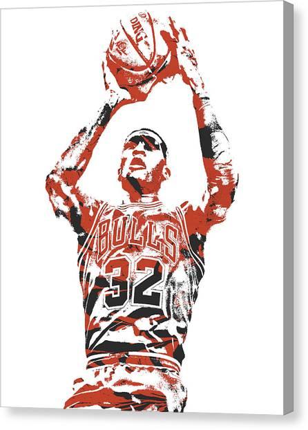 Chicago Bulls Canvas Print - Kris Dunn Chicago Bulls Pixel Art 2 by Joe Hamilton