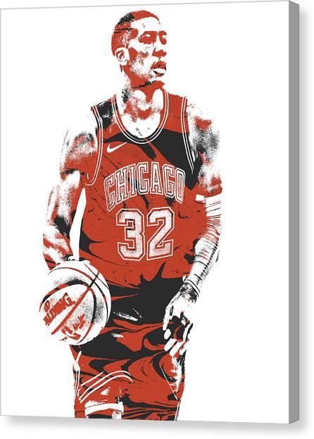 Chicago Bulls Canvas Print - Kris Dunn Chicago Bulls Pixel Art 4 by Joe Hamilton