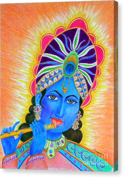 Krishna -- Colorful Portrait Of Hindu God Canvas Print
