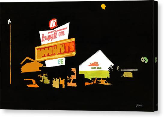 Krispy Kreme At Night Canvas Print