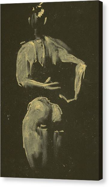 kroki 2014 09 27_4 figure drawing white chalk Marica Ohlsson Canvas Print