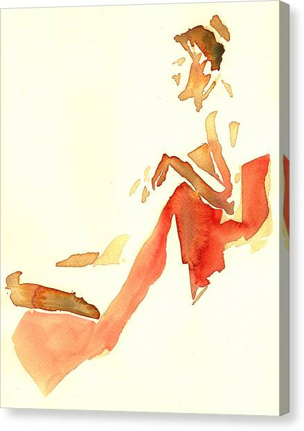 Kroki 2015 03 28_29 Maalarhelg 4 Akvarell Watercolor Figure Drawing Canvas Print
