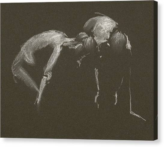 Kroki 2015 04 25 _1 Figure Drawing White Chalk Canvas Print