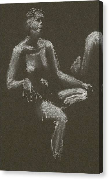Kroki 2015 04 25 _3 Figure Drawing White Chalk Beskuren Canvas Print